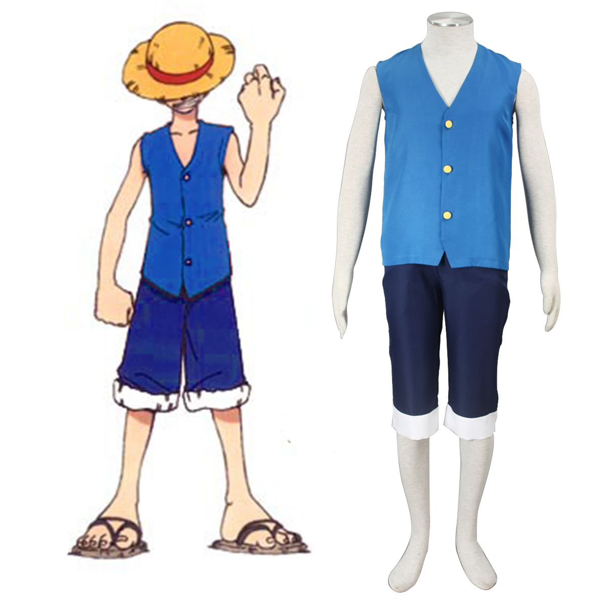One Piece Monkey D. Luffy 2 Blå Cosplay Kostymer Online Butikken