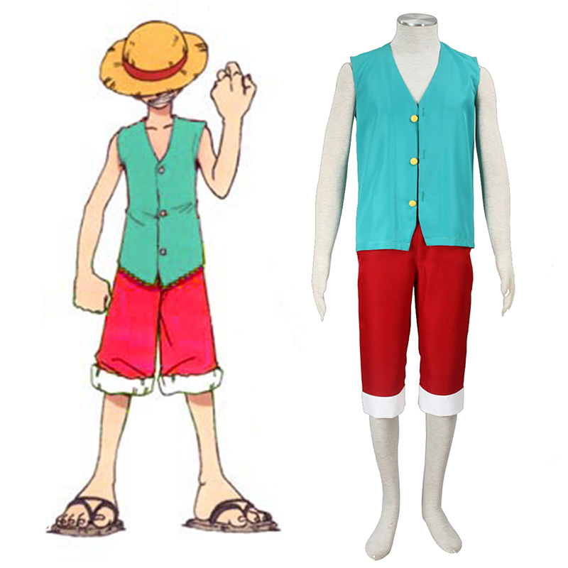 One Piece Monkey D. Luffy 3 Green Cosplay Kostymer Online Butikken