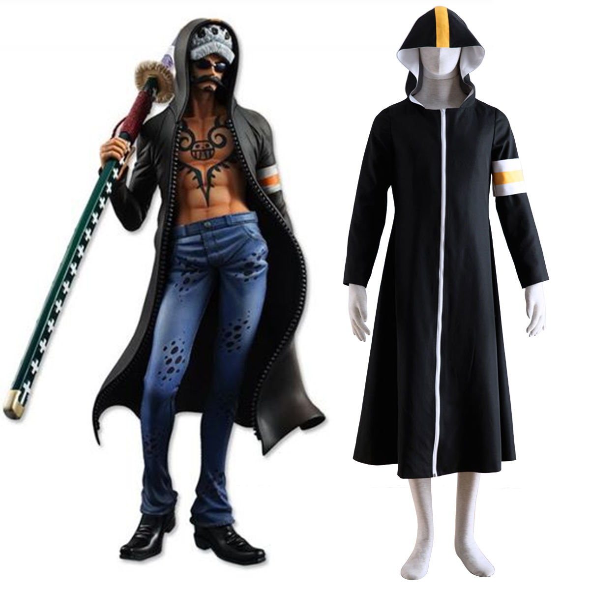 One Piece Surgeon of Death Trafalgar Law 1 Cosplay Kostymer Online Butikken