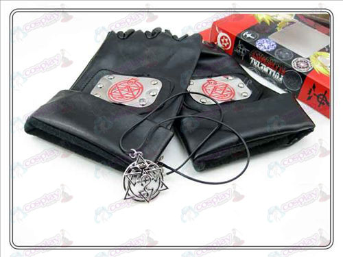 Steel Alchemist skinn hansker + Lace Necklace (tredelt)