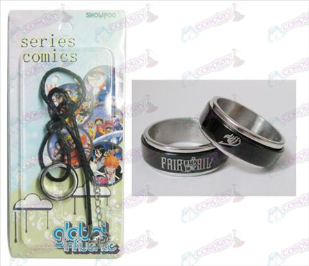 Fairy Tail Tilbehør Black Steel Ring Necklace transporter - Rope
