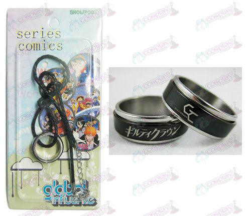 Guilty Crown Tilbehør Black Steel Ring Necklace transporter - Rope