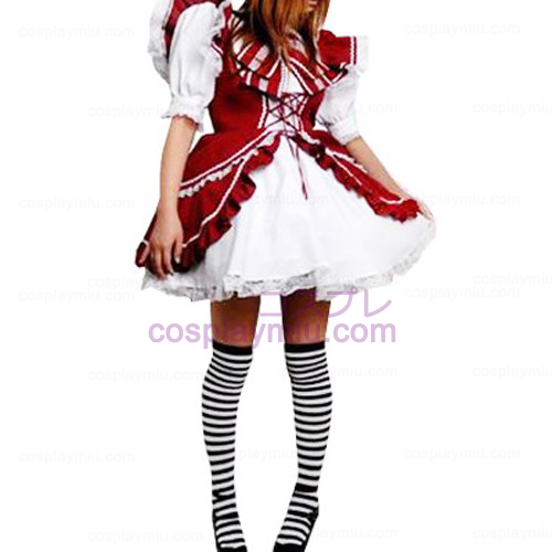 Red And White Lace Trimmet Lolita Cosplay Dress