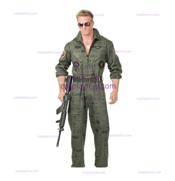 Top Gun Air Force Army Flight Suit Halloween Kostymer