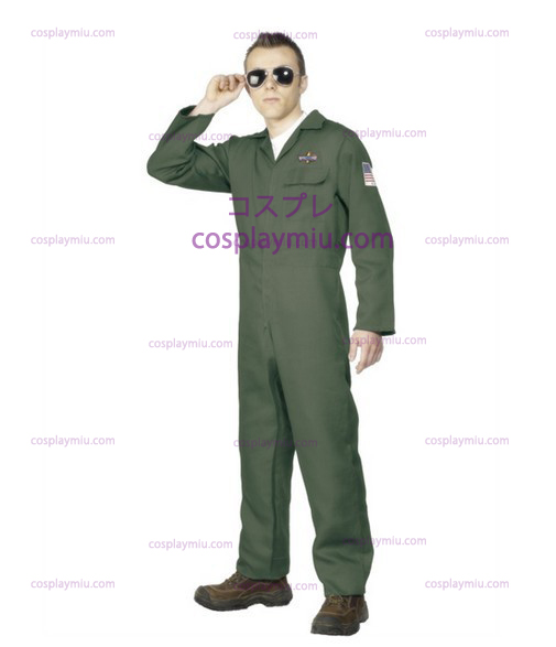 Voksen Mens Aviator Topgun Pilot Fancy Dress Kostymer