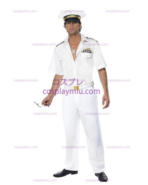 Mens Top Gun Captain Airforce Fancy Dress Kostymer