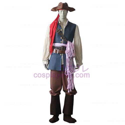 Pirates of the Caribbean Captain Jack Sparrow Cosplay Kostymer