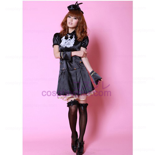 Svart Princess Dress Lolita Cosplay Maid Kostymer