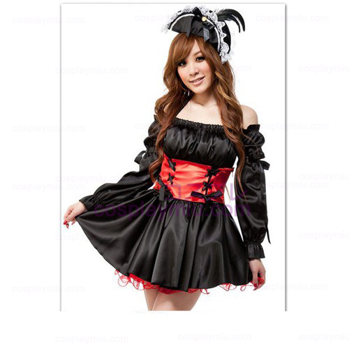 Caribbean Off-the-skulder Princess skjørt Lolita Maid Kostymer
