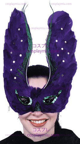 Mask Feather Purpl Med Sequin