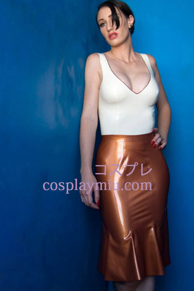 Hvit og gul Sexy Latex Suit