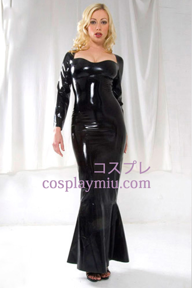 Svart lange ermer Sexy Latex Dress