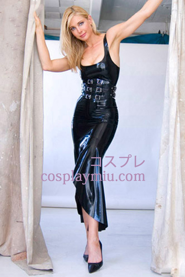 Svart Sexy Latex Kjole