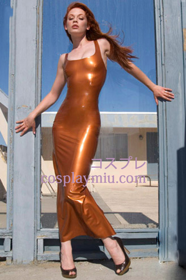 Square Neck ermer Latex Dress