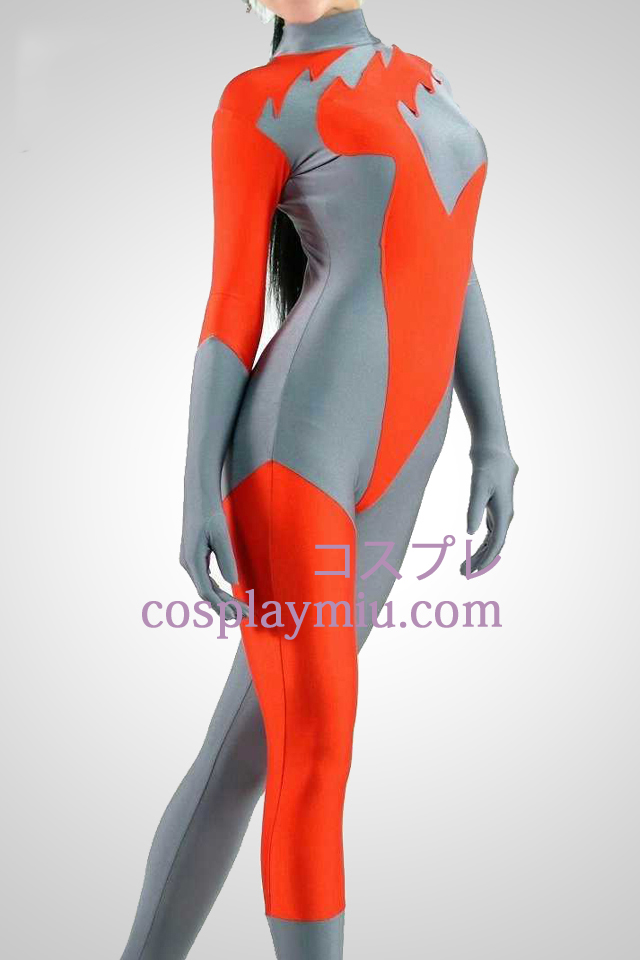 Red And Grey Lycra Spandex Catsuit