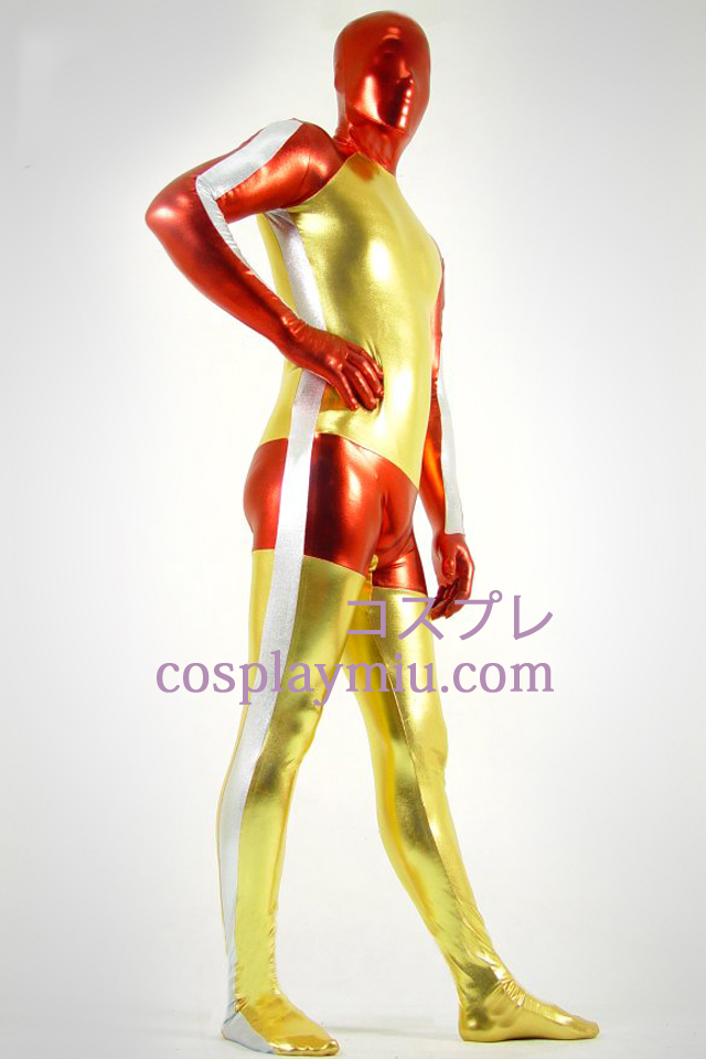 Shiny Metallic gylne Red and White Zentai Suit