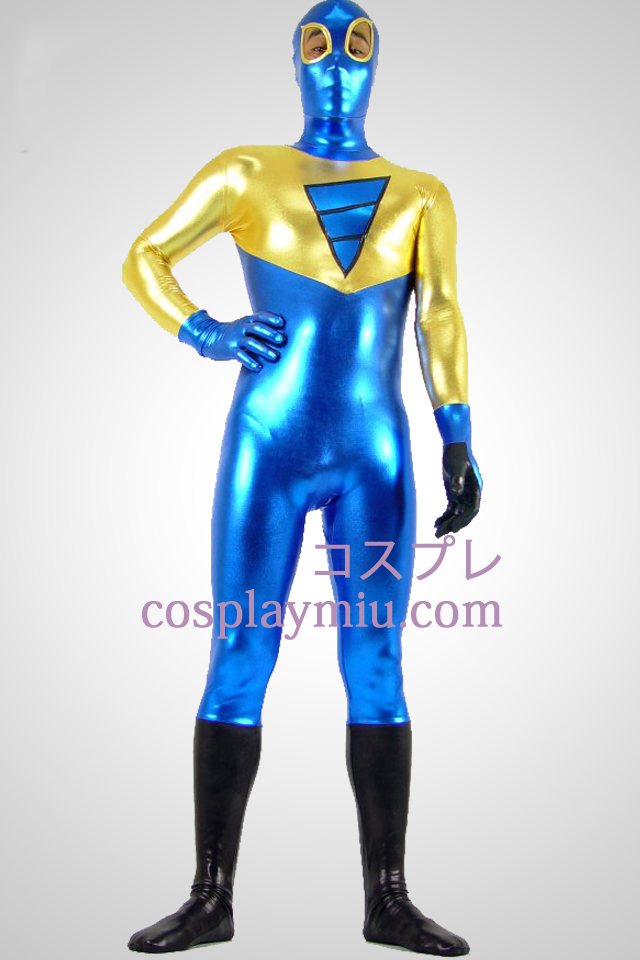 Shiny Metallic gylne Sort og blå Zentai Suit Med Eye Åpen