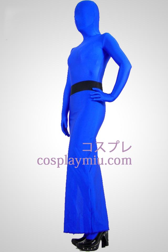 Blå Full Body Lycra Spandex Dress