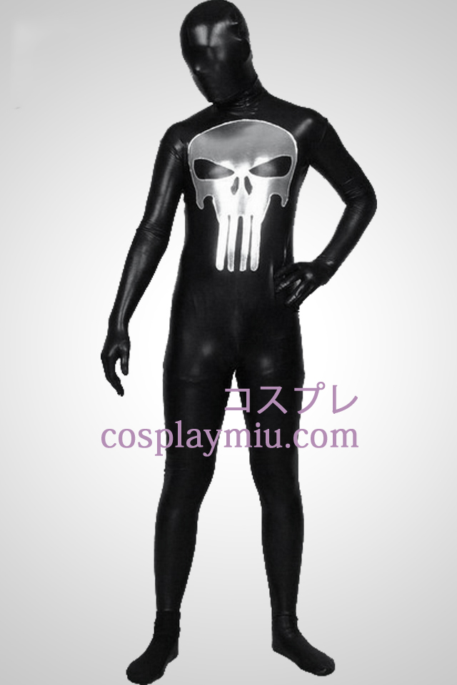 Svart skinnende metallisk Punisher mønster Zentai Suit