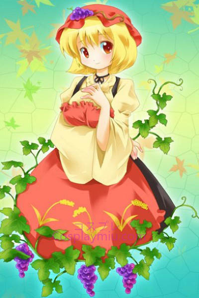 Touhou Prosjekt Aki Minoriko Cute Short Blond Bottom Cosplay parykk